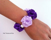 RESERVED FOR JOSHGLORIA   Wrist Corsage / Spring (Purple) Little Bouquets of satin roses (elastic wristlet)