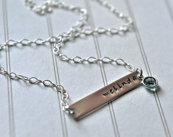 Bar Name Necklace Bridesmaid Gift Hand Stamped Jewelry Personalized Name Sterling Silver