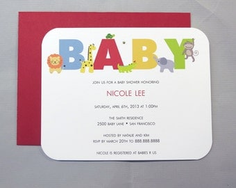 Safari Wild Animals A2 Flat Note Baby Shower Invitations (Choose your envelope color) (Set of 10)