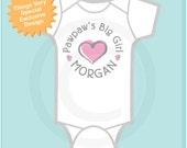 Girl's Personalized Pawpaw's Big Girl with Pink Heart Onesie or Tee Shirt (12302013i)