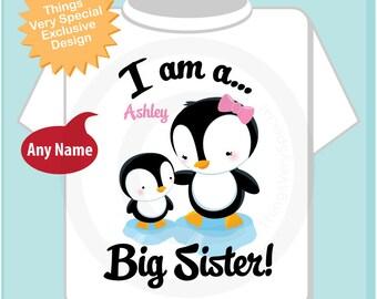 Penguin I am A Big Sister Onesie, Tee Shirt, Personalized Big Sister Shirt, Penguin Shirt with Unknown Sex Baby (03252014b)