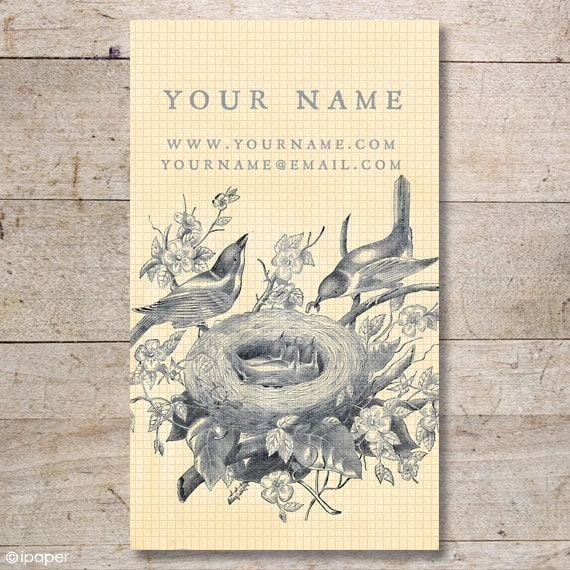 Business Cards - Custom Business Cards - Jewelry Cards - Earring Cards - Display Cards - Vintage Birds in Nest - No. 23