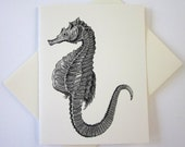 Seahorse Cards Set of 10 in White or Light Ivory with Matching Envelopes
