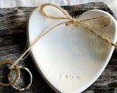LOVE  Heart Wedding Ring Keeper, Ring Dish, Heirloom, Keepsake, Alternative Ring Pillow, Embossed White Clay