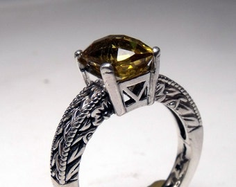 Citrine 9 x 7 Checker Board Cut in Hand Engraved Streling Ring RF540