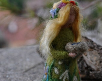 Needle Felted Waldorf  Wool Fairy.Spring