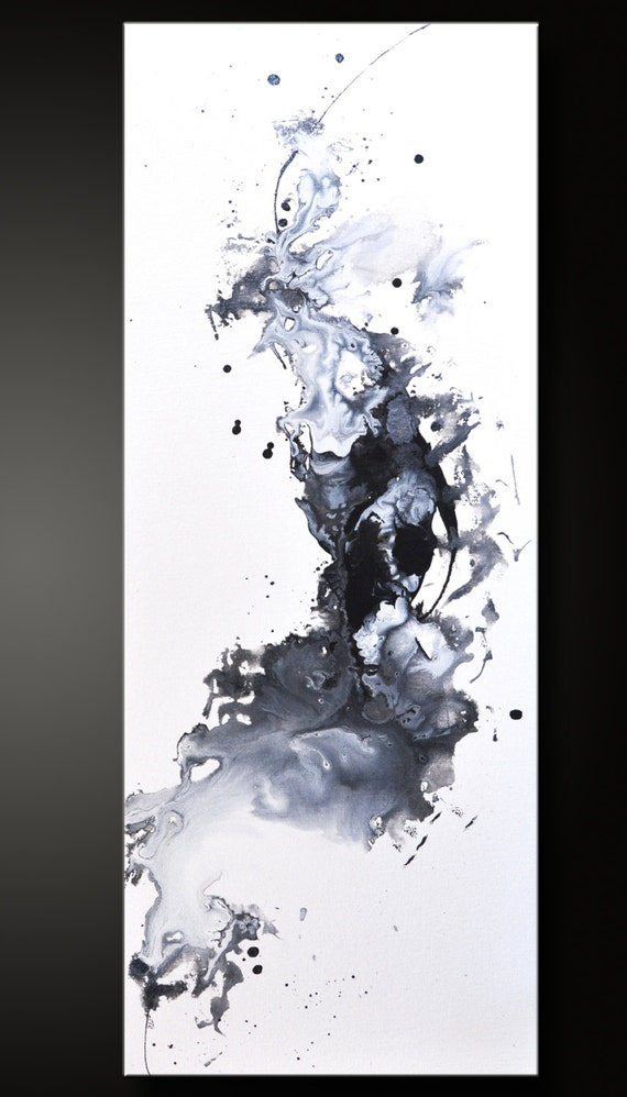 Opposed 12 x 30 abstract acrylic painting black white for Abstract painting on black canvas