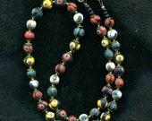 Vintage Venetian Murano Millefiori 7-8mm Round Matte Beads, B1452*