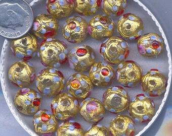 Venetian Golden Fiorato with Roses, Two sizes; Golden Flower Beads, B2098.B3000.B3008 *