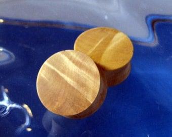 25mm, Blond Buckeye burl Wood ear plugs, 1 inch gauge, hand turned, organic pair of gauges