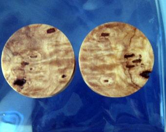 25mm, California Buckeye burl Wood ear plugs, gauges, 1 inch gauge, hand turned, organic