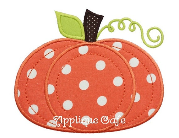 Pumpkin machine embroidery applique design