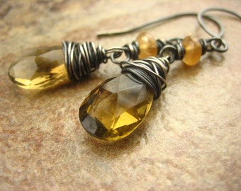 Golden Amber Whiskey Quartz Gemstone Earrings Dangle Sterling Silver Wire Wrapped Gray Oxidized