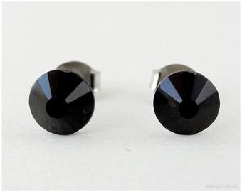 Black Crystal Earrings, Stainless Steel Studs - Gothic Lolita, Kawaii