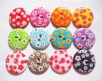 15 pcs Flower Printed retro button 23 mm Mix color