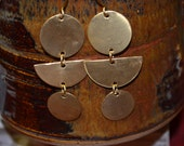 Brass Disc Asian Inspired Earrings