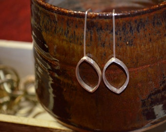 Fine Silver Hammered Leaf Earrings