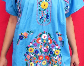 Mexican Blue Mini Dress Special Collection Unique Very Fine Embroidered Handmade Medium