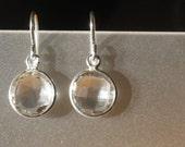 Twinkle Nights clear Quartz and sterling silver bezel earrings