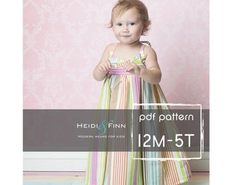 Summer Maxi Dress pattern and tutorial PDF 12m-5t easy sew long tank dress tunic