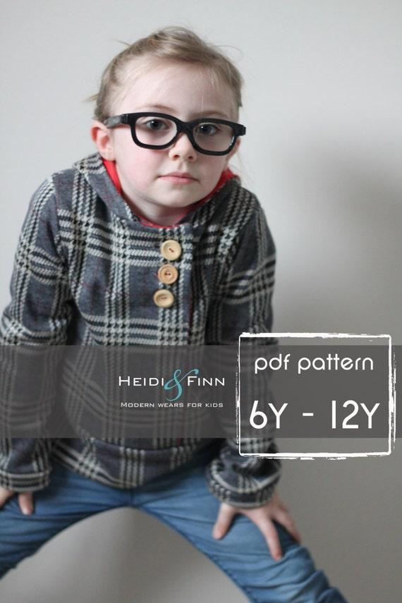 Urban Unisex Hoodie pattern and tutorial 6- 12 years PDF pattern boy girl