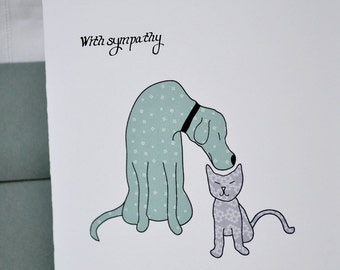 Pet Sympathy Card featuring Dog and Cat Drawing - Single card A2 size