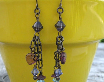 Purple and Turquoise Blue Dangle Earrings