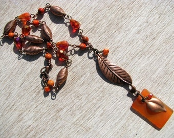 Orange Burst, Artisan Necklace with Orange and Copper as seen in Jewelry Affaire