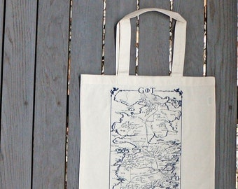Game of Thrones Map of Westeros Natural Color Tote Bag