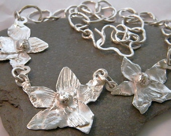 925 Sterling  Silver Orchid Flower  Necklace