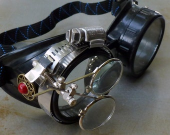 Steampunk Goggles Airship Captain Apocalyptic Mad Scientist Victorian Limited GGG-red