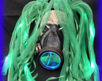 Steampunk goggles LED light dread cyberlock goth RAVE cyber club face gas mask respirator