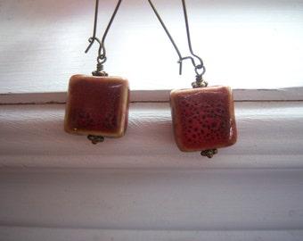 Stone Earrings - Earthy Earrings - Red Earrings