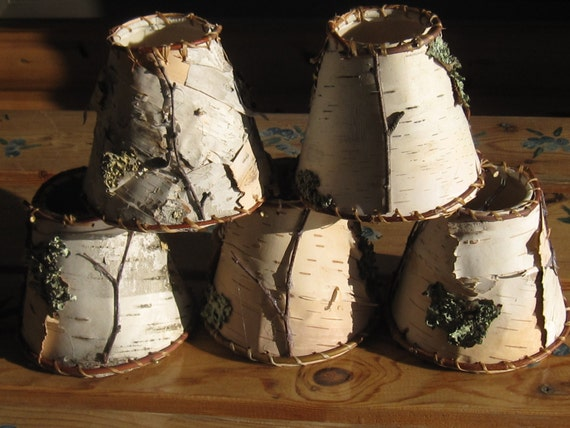 birch bark chandelier shades rustic mini lamp shade green