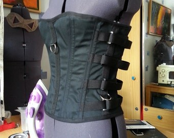 A Steel Boned, Rugged, Overbust Buckle Fastened Bondage or Cyberpunk Style Corset, with Webbing Straps and D-Rings- The Industrial Corset