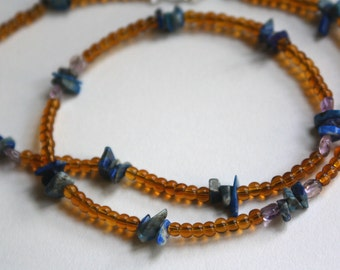 """Amber Necklace with Lapis and Amethyst, Reiki Charged for Inflammation and Pain Relief, 23"""""""