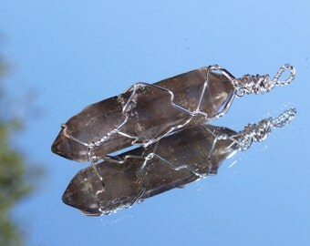 Cloudy Double Terminated Tibetan Quartz Point Pendant Wire Wrapped in Silver