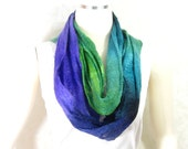 Cobweb Felted Scarf Wool Scarf in Purple Teal Green with Embedded Ribbon Under 75