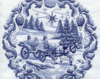 DELFT CHRISTMAS CARRIAGE- Machine Embroidered Quilt Blocks (AzEB)