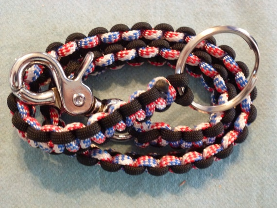 Items similar to usa plus black paracord biker wallet for How to make a paracord wallet chain