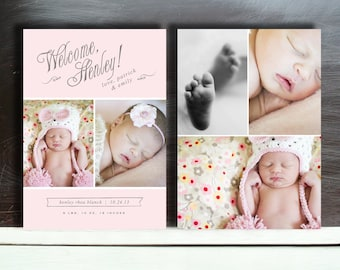 Birth Announcement Photography Template - INSTANT DOWNLOAD! - b0033 - Photoshop Templates