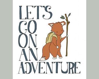 Woodland Nursery Art -- Let's Go On An Adventure -- Fox Word Nursery Art --  Boys Room Decor, Children Art Print, Kids Wall Art