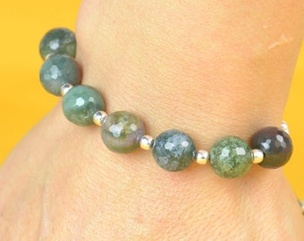 SALE- Indian Agate and sterling silver  bracelet