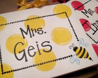 Custom Colors Bumble Bee School Teacher Gift Canvas Sign Door Hanger