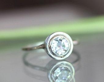 White Topaz Sterling SIlver Ring, Gemstone Ring, Halo Ring In No Nickel / Nickel Free - Made To Order