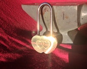 Brass Double Heart Love Lock