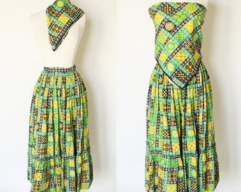 CLEARANCE 70s Skirt / vintage 1970s Hippie Gypsy Print Boho Prairie Skirt and Kerchief Scarf / Extra Small