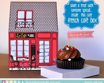 French Café Box - or French Bakery for birthday, shower, cupcake box or gift card - Instant Download DIY Printable PDF Kit