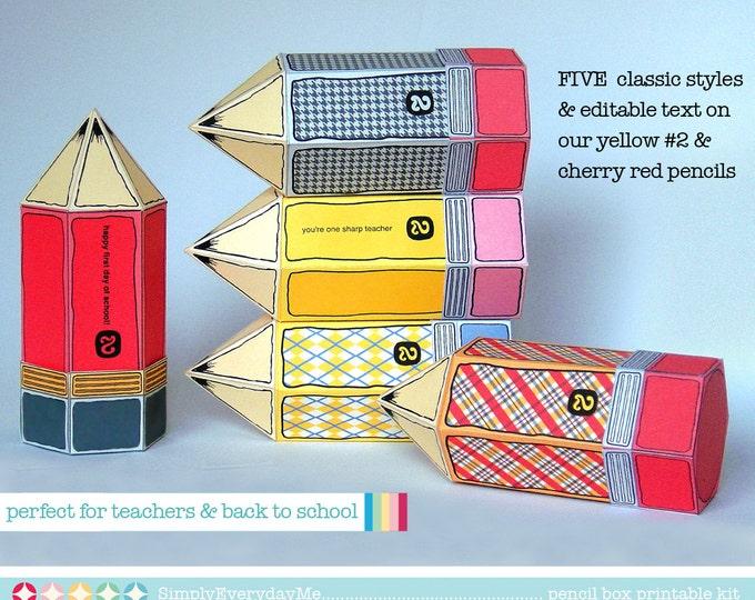 FIVE Pencil Favor Box Kit - for teacher gifts, back to school, teacher appreciation - INSTANT Download D.I.Y. Printable PDF Kit