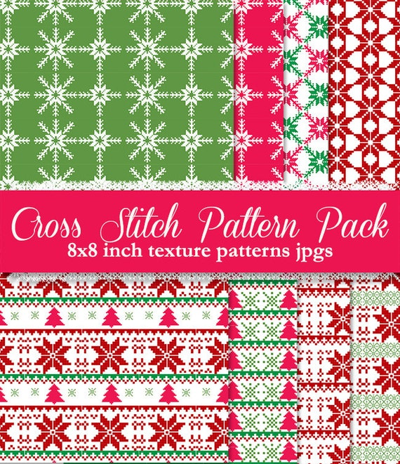 Christmas cross stitch pattern digital papers background textures